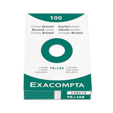 Exacompta White 5 x 3 (125 x 75) Record Cards Pack of 100