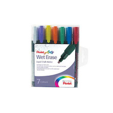 Pentel Wet Erase Chalk Marker Pen SMW26 Set of 7