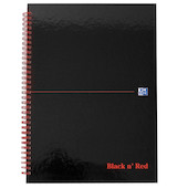 Black n' Red Glossy Hardback Notebook Wirebound A4