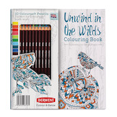 Derwent Colour & Relax Unwind in the Wilds Colouring Book with 10 Coloursoft Pencils