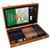 Derwent Academy 35 Piece Sketching and Colouring Wooden Box Gift Set