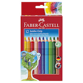 Faber-Castell Jumbo Grip Colour Pencils Pack 12 with Sharpener