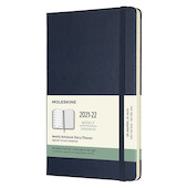Moleskine Hardcover Large Weekly 18 Month Diary 2021-2022 Sapphire Blue