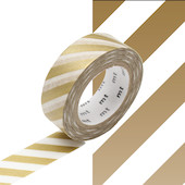 mt Washi Masking Tape 15mm x 10m Stripe Gold 2