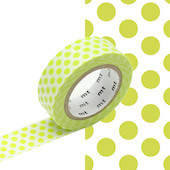 mt Washi Masking Tape - 15mm x 10m - Dot Lime