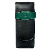 Pelikan Soft Leather Pen Pouch for Three Pens Green and Black