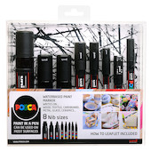 Uni POSCA Marker Pen Set of 8 Assorted Tips Black