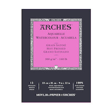 Arches Watercolour Hot Pressed Pad 23 x 31 Natural White