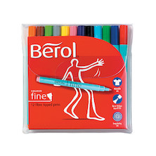 Berol Colourfine Felt Pen Assorted Wallet of 12