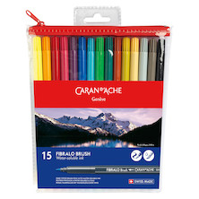 Caran d'Ache Fibralo Brush Pen Assorted Wallet of 15