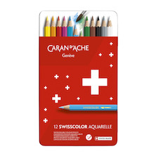 Caran d'Ache Red Line Metal Box with 12 Assorted Watersoluble Pencils