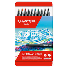 Caran d'Ache Fibralo Brush with Water-Soluble ink Box of 10