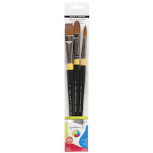 Daler-Rowney System3 Acrylic Long Handle Brush 302 Wallet of 3