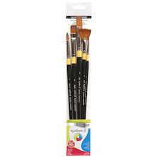 Daler-Rowney System3 Acrylic Long Handle Brush 501 Wallet of 5