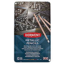 Derwent Metallic Pencils Tin of 12
