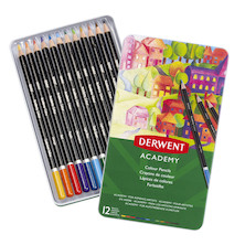 Derwent Academy Colouring Pencils Tin of 12 Assorted