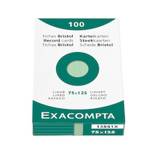 Exacompta Green 5 x 3 (125 x 75) Record Cards Pack of 100