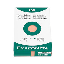 Exacompta Orange 5 x 3 (125 x 75) Record Cards Pack of 100