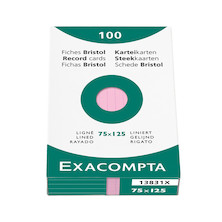 Exacompta Pink 5 x 3 (125 x 75) Record Cards Pack of 100