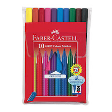 Faber-Castell Grip Colour Marker Pens Set of 10