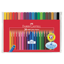 Faber-Castell Grip Colour Marker Pens Set of 20