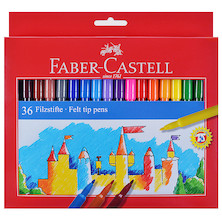Faber-Castell Fibre-Tip Colouring Pens Set of 36