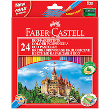Faber-Castell Eco Colouring Pencils Box of 24 + Free Sharpener