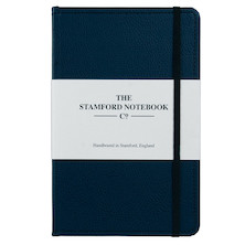 Stamford Notebook Company Stitched Recycled Leather Notebook Quarto Medium Navy Blue