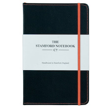 Stamford Notebook Company Stitched Recycled Leather Notebook Quarto Medium Black