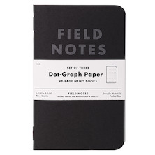 Field Notes Pitch Black Pocket Notebook Set of 3