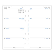 Filofax Diary Refill 2022 Week on 2 Pages Moday Start Personal