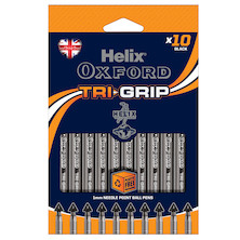 Helix Oxford Trigrip Rollerball Pen Set of 10 Black
