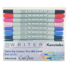 Kuretake Zig Writer Twin-Tip Colour Pen MS-6600 Set of 24