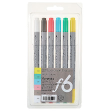 Kuretake Clean Color F Chalk Pastel Colouring Pens Assorted Set of 6