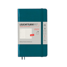 Leuchtturm1917 Weekly Planner & Notebook 2022 Softcover Pocket A6 Pacific Green