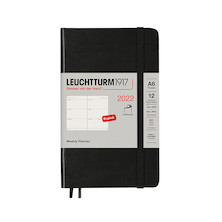 Leuchtturm1917 Weekly Planner 2022 Softcover Pocket A6 Black