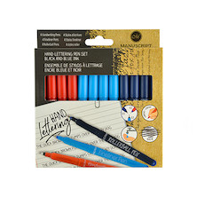 Manuscript Rollerball, Handwriting and Fineliner Pen Set of 12