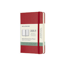 Moleskine Hardcover Pocket Weekly 18 Month Diary 2020-2021 Scarlet Red