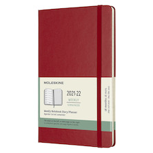 Moleskine Hardcover Large Weekly 18 Month Diary 2021-2022 Scarlet Red