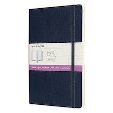 Moleskine Double Layout Notebook Softcover Large Ruled-Plain Sapphire Blue