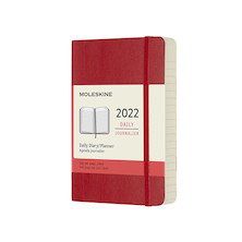Moleskine Softcover Pocket Daily Diary 2022 Scarlet Red