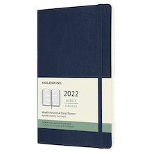 Moleskine Softcover Horizontal Large Weekly Diary 2022 Sapphire Blue