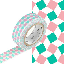 mt Washi Masking Tape - 15mm x 10m - Square Pink