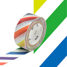 mt Washi Masking Tape for Kids - 15mm x 7m - Colourful Stripe