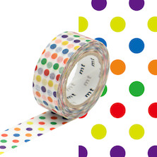 mt Washi Masking Tape for Kids - 15mm x 7m - Colorful Dot