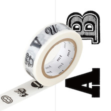 mt Washi Masking Tape EX - 15mm x 10m - Alphabet Black R