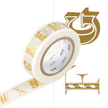 mt Washi Masking Tape EX - 15mm x 10m - Alphabet Gold R