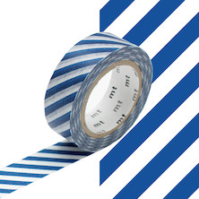 mt Washi Masking Tape - 15mm x 10m - Stripe Marine Blue
