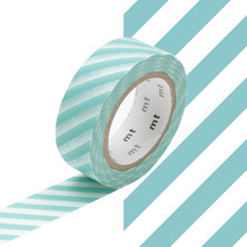 mt Washi Masking Tape - 15mm x 10m - Stripe Mint