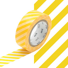 mt Washi Masking Tape - 15mm x 10m - Stripe Yellow